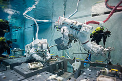 Terry Virts simulates extravehicular activity in the Neutral Buoyancy Laboratory.jpg
