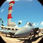 The -F14 and -F15 perched outside the Ford Island Control Tower. -aviation -avgeeks -pilot -fly -hawaii (9018560111).jpg