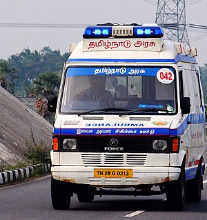 108 (emergency telephone number) - Force Motors Traveller based 1-0-8 ambulance of Tamil Nadu.