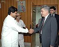 The Ambassador of the Republic of Azerbaijan, Dr. Tamerian Karayev shaking hands with the Minister of State for Communications & Information Technology, Dr. Shakeel Ahmad, in New Delhi on May 5, 2006.jpg