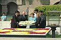 The Australian Prime Minister, Mr. John Howard and his wife Mrs. Janette laying wreath at the Samadhi of Mahatma Gandhi at Rajghat in Delhi on March 6, 2006.jpg