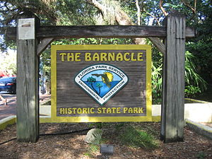 The Barnacle Historic State Park - Sign at front entrance on Main Highway