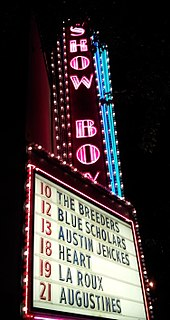 Marquee of the Showbox music venue showing the Breeders on September 10 and other bands performing that month