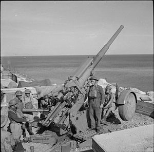 175th Heavy Anti-Aircraft Regiment, Royal Artillery - White Rock Battery on Gibraltar with a 3.7-inch mobile HAA gun.