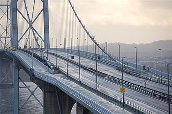English: The Forth Road Bridge The unusual sig...