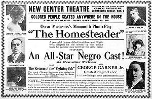 Race film - Ad for The Homesteader (1919) emphasizing its black cast
