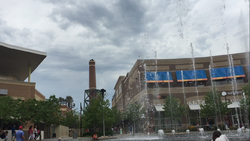 The fountains at the Kansas Legends Outlets in the Village West district in Kansas City, Kansas