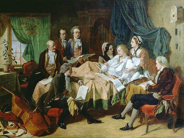 Результат Изображение для «Последние часы жизни Моцарта», 1860, картина работы Г.  Н.  О'Нил,