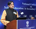 The Minister of State for Human Resource Development, Dr. Shashi Tharoor addressing at the inauguration of the National Conference on Secondary Education, in New Delhi on February 26, 2013.jpg
