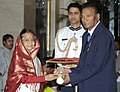 The President, Smt. Pratibha Devisingh Patil presenting the Padma Bhushan Award to Dr. Patibandla Chandrasekhara, at an Investiture Ceremony-II, at Rashtrapati Bhavan, in New Delhi on April 04, 2012.jpg