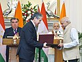 The Prime Minister, Shri Narendra Modi and the President of the Republic of Tajikistan, Mr. Emomali Rahmon witnessing the exchange of agreements between India and Tajikistan, at Hyderabad House, in New Delhi.jpg