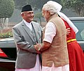 The Prime Minister of Nepal, Shri K.P. Sharma Oli being received by the Prime Minister, Shri Narendra Modi, at the Ceremonial Reception, at Rashtrapati Bhavan, in New Delhi on February 20, 2016.jpg