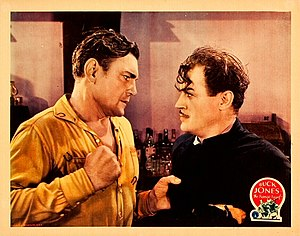 Harry Woods (actor) - Lobby card with Buck Jones and Harry Woods in The Range Feud (1931)