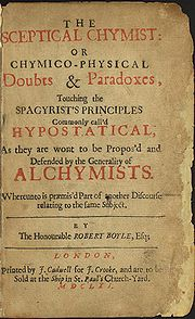 Title page of The Sceptical Chymist (1661).