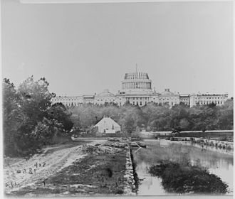 35th United States Congress - Image: The U.S. Capitol under construction, 1860 NARA 530494