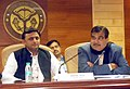 The Union Minister for Road Transport & Highways and Shipping, Shri Nitin Gadkari addressing the media persons, in Lucknow on January 21, 2015. The Chief Minister of Uttar Pradesh, Shri Akhilesh Yadav is also seen.jpg