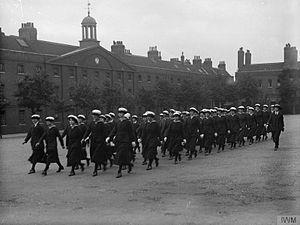 Royal Marine Barracks, Chatham - WRNS officers and ratings drilling at the Royal Marine Barracks, Chatham