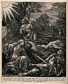 The agony in the garden; the apostles slumber while the sold Wellcome V0034758.jpg