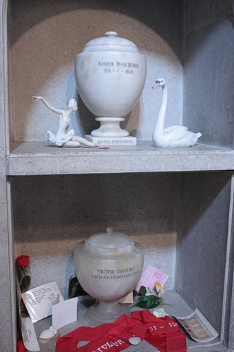 The ashes of Anna Pavlova, above those of Victor Dandre, Golders Green Crematorium The ashes of Anna Pavlova, above those of Victor Dandre, Golders Green Crematorium.jpg