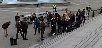 The Boat That Rocked - Principal photography taking place on the steps of the National Gallery in Trafalgar Square