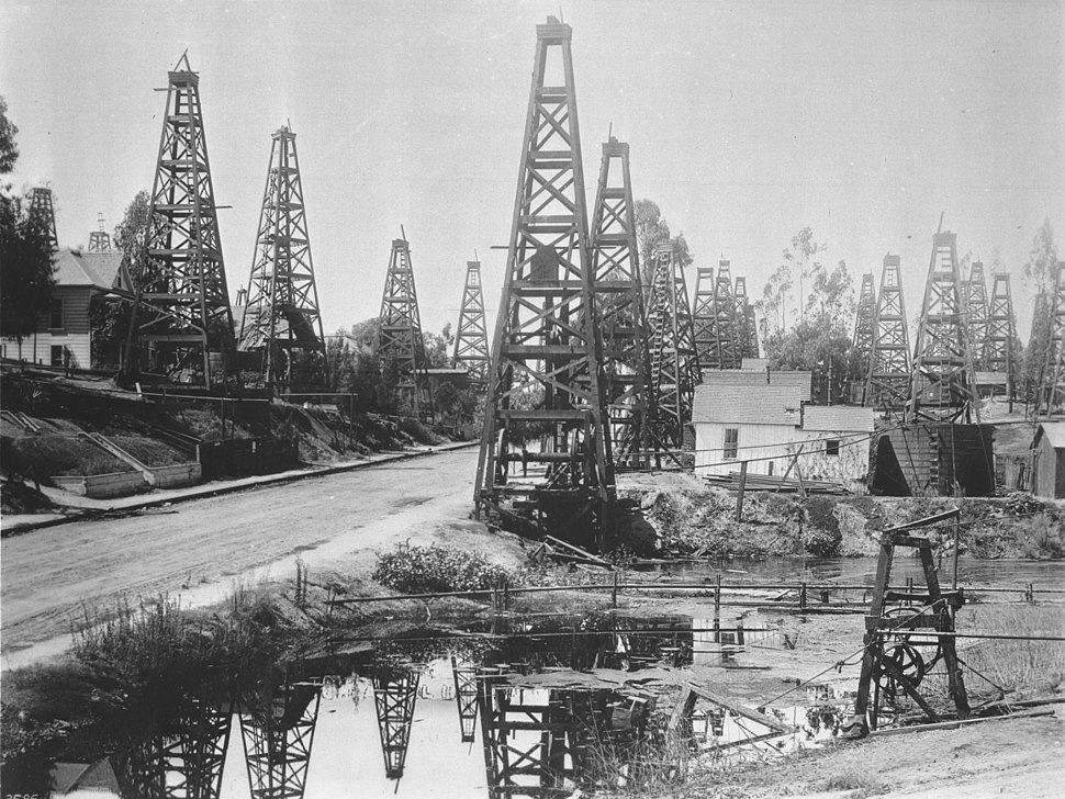 The first oil district in Los Angeles, Toluca Street, ca.1895-1901 (CHS-3686)