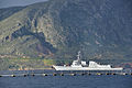 The guided missile destroyer USS Truxtun (DDG 103) departs the Marathi NATO pier facility following a scheduled port visit to Souda Bay, Greece, March 6, 2014 140306-N-MO201-155.jpg