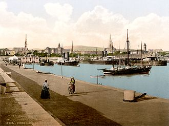 Dún Laoghaire - Harbour in Dún Laoghaire, then known as Kingstown, in about 1895