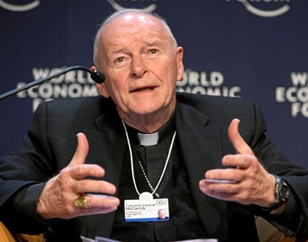 Theodore Edgar McCarrick (born 1930), ordered in 2018 by Pope Francis to a life of prayer and penance until a canonical trial could be held. After a church investigation and trial, he was found guilty of sexual crimes against adults and minors and abuse of power, and was dismissed from the clergy in February 2019. McCarrick is the most senior church official in modern times to be laicized - commonly referred to as defrocking - and is believed to be the first cardinal ever laicized for sexual misconduct. Theodore Cardinal McCarrick.jpg