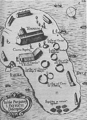 "St Patrick's Purgatory - Map of Station Island and its penitential stations by Thomas Carve in 1666. ""Caverna Purgatory"" on the map is the site of the actual cave."