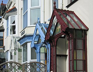 English: Three porches, Criccieth No UPVC here...