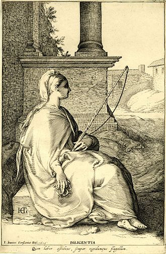 Diligence - Plate 1 of classical virtues: Diligence. She is holding a whip and spurs, signifying a drive to steadfastly move forward with one's means.
