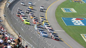 Talladega Superspeedway - Denny Hamlin leading the 2008 Aaron's 499 alongside David Stremme.