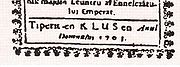 "Romanian inscription of a religious book: ""Tiperit en Klus en Anul Domnului 1703"" (Printed in Klus AD 1703)."