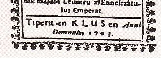 "Cluj-Napoca - Romanian inscription of a religious book: ""Tiperit en Klus en Anul Domnului 1703"" (Translation: ""Printed in Klus in the year of our Lord 1703"")."