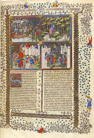 Страница из перевода «Истории» на французский язык Пьером Берсюиром. Иллюстрированная рукописная копия XV века.