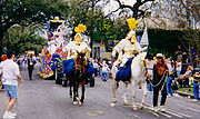 Mounted Krewe Officers in the Thoth Parade during Mardi Gras.