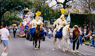 Culture of New Orleans - Mounted Krewe Officers in the Thoth Parade during Mardi Gras.