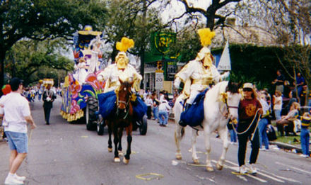 Mounted krewe officers in the Thoth Parade during Mardi Gras ToHorses.jpg