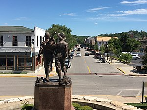 Hannibal, Missouri - Tom and Huck Statue overlooking Main Street, Hannibal