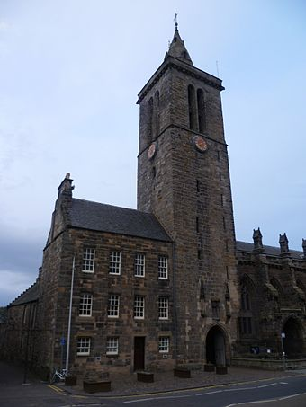 Tower of St Salvator's College, St Andrews, one of the three universities founded in the fifteenth century Tower of St. Salvator's College, St. Andrews Fife.jpg