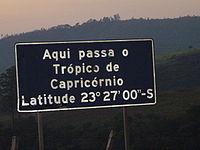 Roadway plaque marking the Tropic of Capricorn in the city of Santana do Parnaíba, Brazil.
