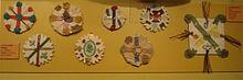 Foto van acht Zelfgemaakte badges Samengesteld uit verschillend Gekleurde kruisen en saltiers.