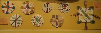 Saint Patrick's Day - Traditional St Patrick's Day badges from the early 20th century, at the Museum of Country Life in County Mayo