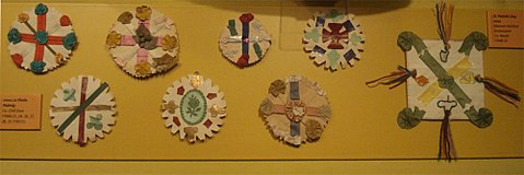 Traditional Saint Patrick's Day badges from the early twentieth century, from the Museum of Country Life, Castlebar Traditional-irish-stipatricksidayibadges.jpg