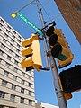 Traffic signal and Western United Life Building, Midland, TX.jpg