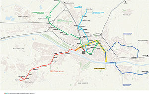 Trams in Florence - Map of the planned tramway