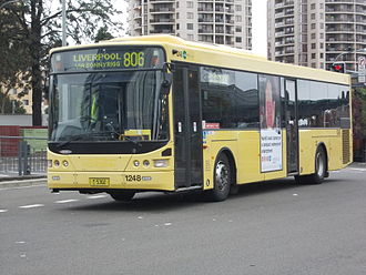 Transit Systems Sydney - Volgren CR228L bodied Volvo B7RLE still in CDC Canary yellow livery at Parramatta station in April 2014