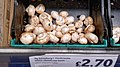 Tray of mushrooms at Sainsbury's Low Hall, Chingford, London, England.jpg