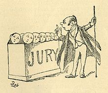"Engraving of a quaint drawing showing the little round faces of jurymen protruding from a box with the word ""Jury"" on it in large letters. They gaze up at the usher with cowed expressions while he wags his finger at them."