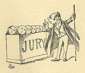 Trial by Jury - The Usher advises the jury.  Drawing by W. S. Gilbert